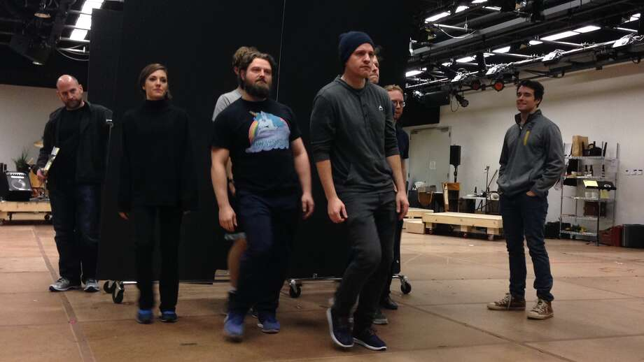 "The cast of ""Bandstand"" in rehearsal (photo by Amy Biancolli)"