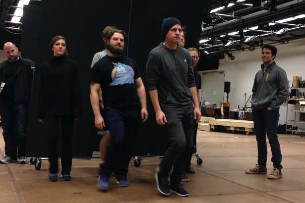 """The cast of """"Bandstand"""" in rehearsal (photo by Amy Biancolli)"""