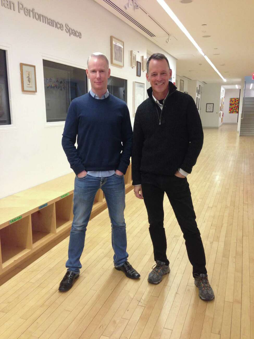 Richard Oberacker, left, and Rob Taylor at the National Dance Institute last week for rehearsals of