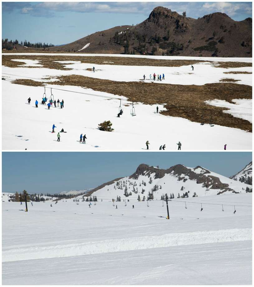 Top: Squaw Valley March 2015Skiers slalom through patches of dry ground at Squaw Valley Ski Resort, March 21, 2015, in Olympic Valley, Calif.Squaw Valley March 2017Skiers slalom through piles of powder at Squaw Valley Ski Resort, March 17, 2017, in Olympic Valley, Calif. Photo: Top: Max Whittaker/Getty Images. Bottom: Squaw Valley Alpine Meadows/Ben Arnst.
