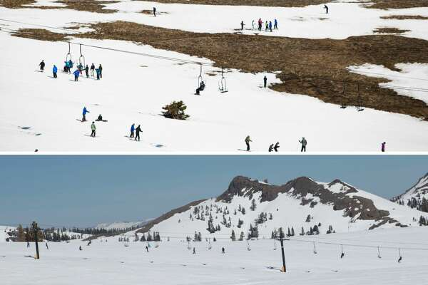 Top:Squaw Valley March 2015      Skiers slalom through patches of dry ground at Squaw Valley Ski Resort, March 21, 2015, in Olympic Valley, Calif.    Squaw Valley March 2017    Skiers slalom through piles of powder at Squaw Valley Ski Resort, March 17, 2017, in Olympic Valley, Calif.