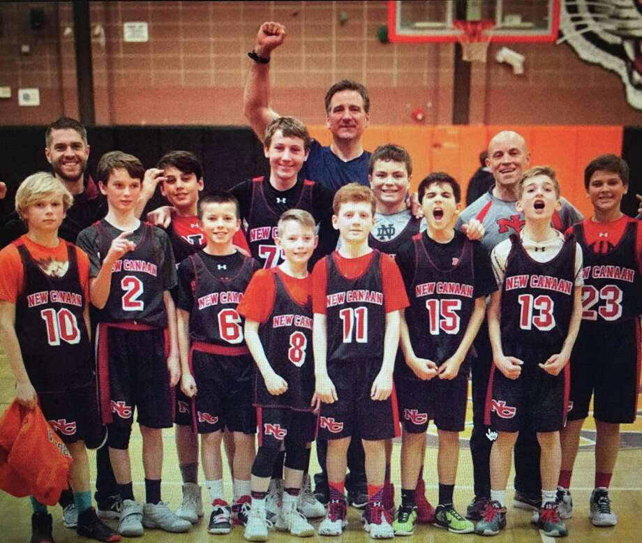 The New Canaan sixth grade Black team poses after winning the FCBL A Division championship. Photo: Contributed Photo / New Canaan News contributed