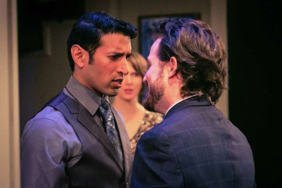 "Suhail Arastu (left) and Nicholas Szoeke start in ""Disgraced"""" in the Cellar Theater of The Playhouse San Antonio. Photo: Courtesy Daniel Baumer"