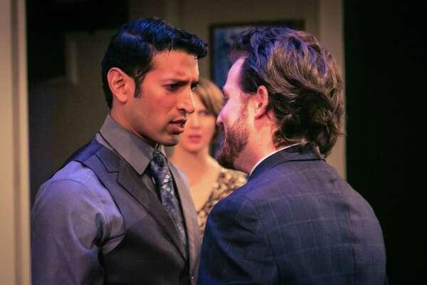 "Suhail Arastu (left) and Nicholas Szoeke start in ""Disgraced"""" in the Cellar Theater of The Playhouse San Antonio."