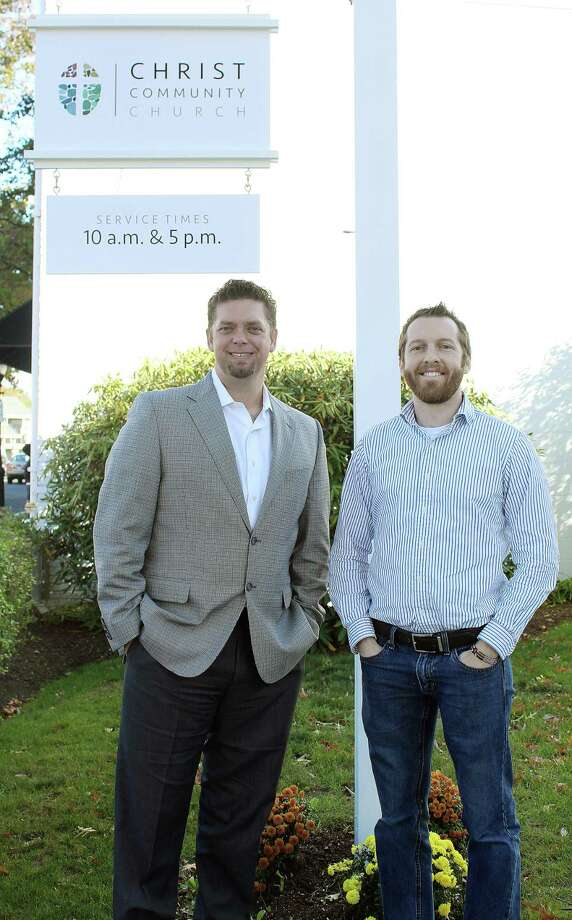 Landon Reesor (left) with Chad Wade, leaders at the Christ Community Church, are part of the church's ongoing effort to address sexual assault and sexual abuse. Photo: Erin Kayata / Hearst Connecticut Media / Darien News