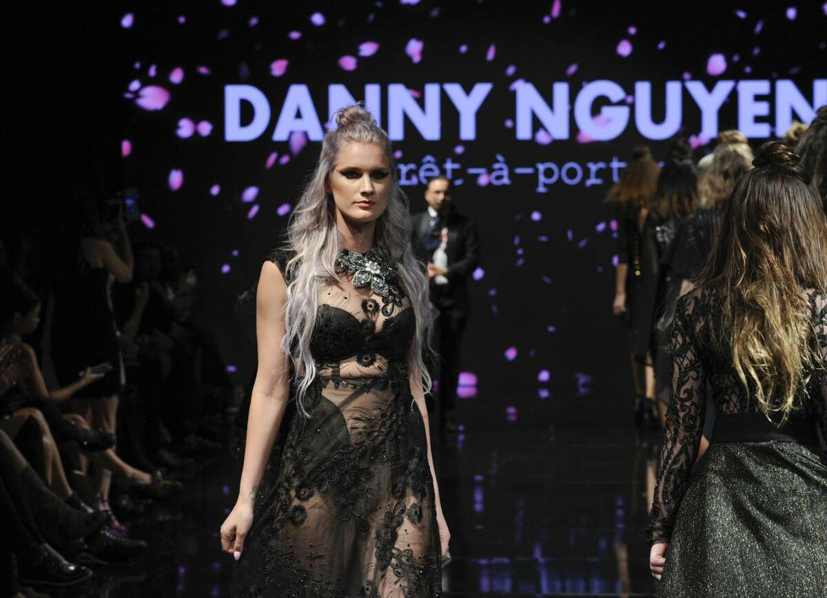 BEVERLY HILLS, CA - MARCH 14: Models walk the runway wearing Danny Nguyen at Art Hearts Fashion LAFW Fall/Winter 2017 - Day 1 at The Beverly Hilton Hotel on March 14, 2017 in Beverly Hills, California. (Photo by Arun Nevader/Getty Images)