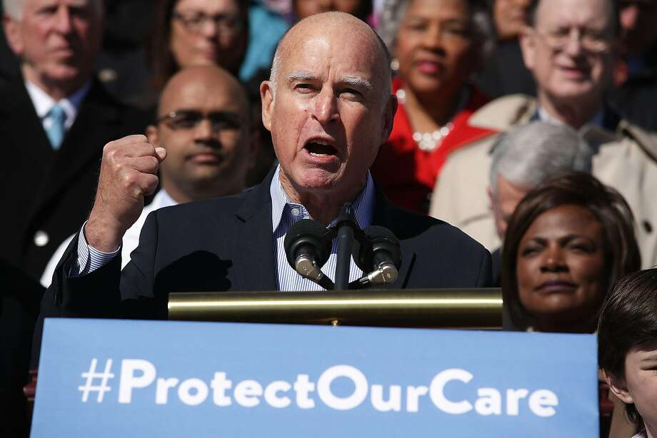 California Governor Jerry Brown speaks during an event on health care at the House East Front of the Capitol March 22, 2017 in Washington, DC. House Democrats held the event to mark the seventh anniversary of the Affordable Care Act.  Photo: Alex Wong, Getty Images