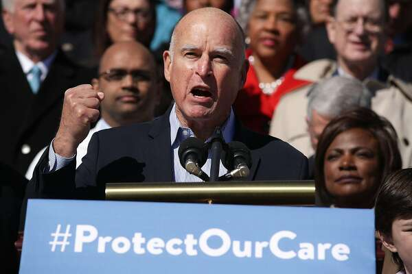 WASHINGTON, DC - MARCH 22:  California Governor Jerry Brown speaks during an event on health care at the House East Front of the Capitol March 22, 2017 in Washington, DC. House Democrats held the event to mark the seventh anniversary of the Affordable Care Act.  (Photo by Alex Wong/Getty Images)