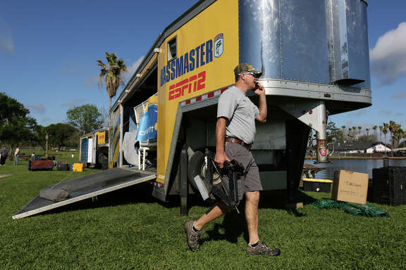 Bill Myers, a contract tournament associate with Bass, helps setup for the Geico Bassmaster Classic on Tuesday, March 21, 2017, to be held this weekend at Lake Conroe.