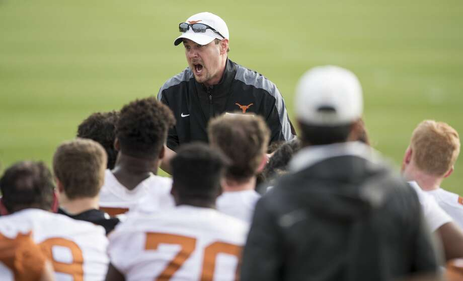 Longhorns coach Tom Herman gets vocal with his team during spring practice on March 7, 2017. Photo: Ricardo B. Brazziell/Austin American-Statesman