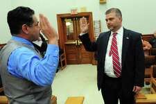 Mayor David S. Cassetti, left, swears in Joseph Jaumann after he was elected to fill a vacancy in the fifth ward March 21, 017. Jaumann, a Bridgeport lawyer who lives on Wakelee Avenue defeated Millie Rios to fill vacancy left by Anthony Cassetti's resignation in fifth ward.