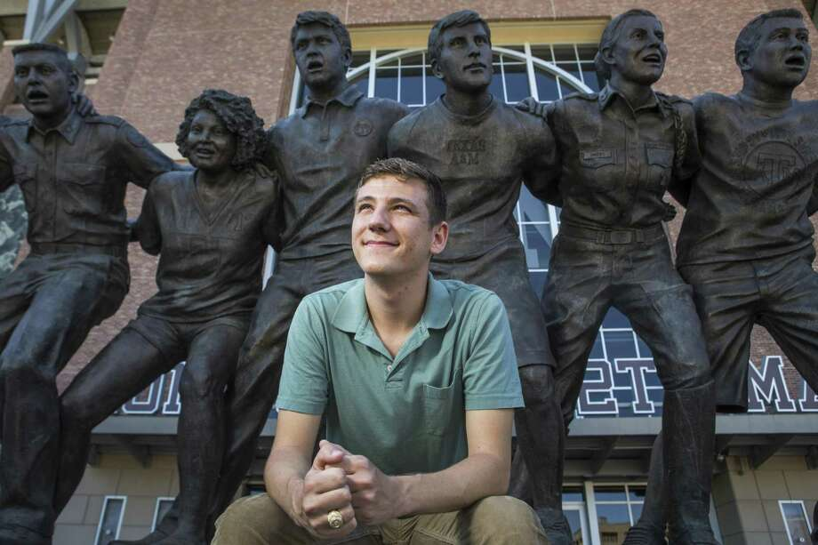 Texas A&M's newly-elected student body president Bobby Brooks, a junior from Belton, Texas, poses for a portrait in front of the War Hymn Monument on Monday, March 20, 2017, in Houston. ( Brett Coomer / Houston Chronicle ) Photo: Brett Coomer, Staff / Houston Chronicle / © 2017 Houston Chronicle
