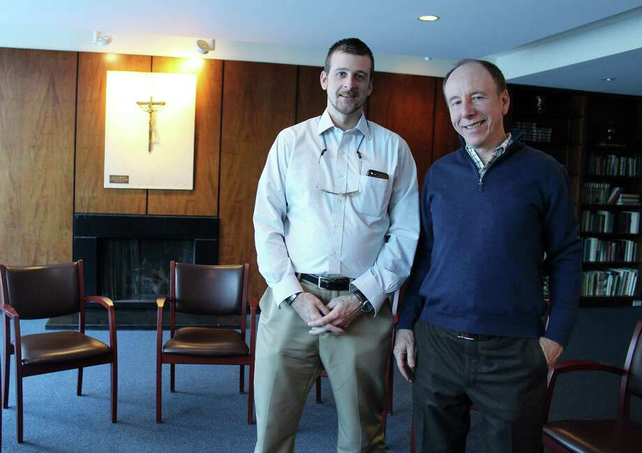 From the left, Nick deSpoelberch and Paul Reinhardt at St. Mark's in New Canaan, CT on March 16, 2017 before one of the meetings of New Canaan Parent Support Group Photo: Erin Kayata / Hearst Connecticut Media / New Canaan News