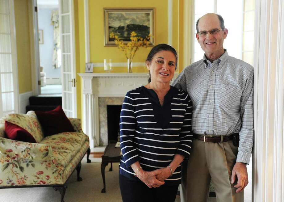 Owners Doreen and Tog Pearson pose in the lobby of the Stanton House bed and breakfast in Greenwich, Conn. Tuesday, May 5, 2015.  With the closure of Harbor House Inn in Old Greenwich, Stanton House is among the last B&Bs standing in Greenwich. Photo: Tyler Sizemore / Tyler Sizemore / Greenwich Time