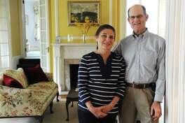 Owners Doreen and Tog Pearson pose in the lobby of the Stanton House bed and breakfast in Greenwich, Conn. Tuesday, May 5, 2015.  With the closure of Harbor House Inn in Old Greenwich, Stanton House is among the last B&Bs standing in Greenwich.
