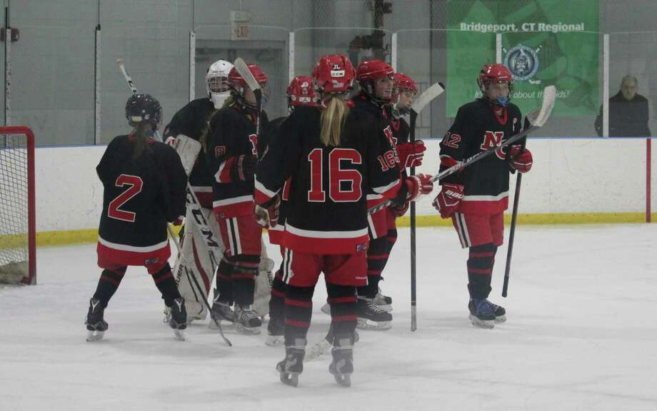 New Canaan celebrates its win in a girls hockey game between Fairfield and New Canaan. New Canaan won the game 5-1 at the Wonderland of Ice in Bridgeport, Conn. Photo: Anthony E. Parelli / Hearst Connecticut Media / New Canaan News