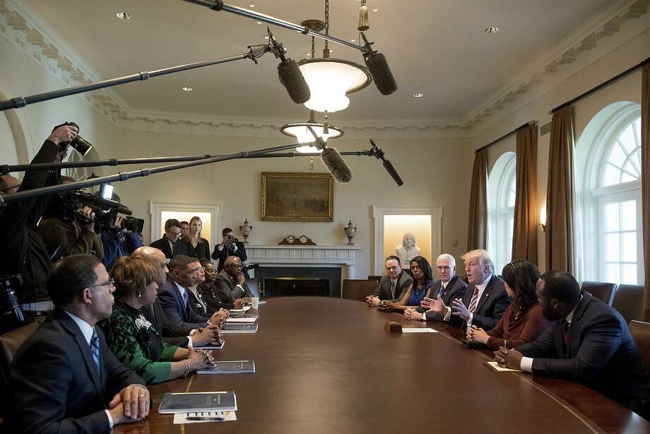 President Trump and Vice President Mike Pence meet with the Congressional Black Caucus at the White House. Photo: Andrew Harnik, Associated Press