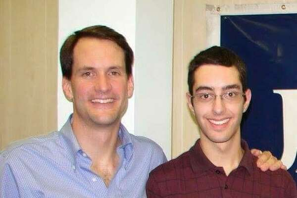 Democrat Jim Himes, shown here with Kevin Sutherland in 2008, when Himes first ran for Congress in Connecticut's 4th District and Sutherland was a campaign volunteer.