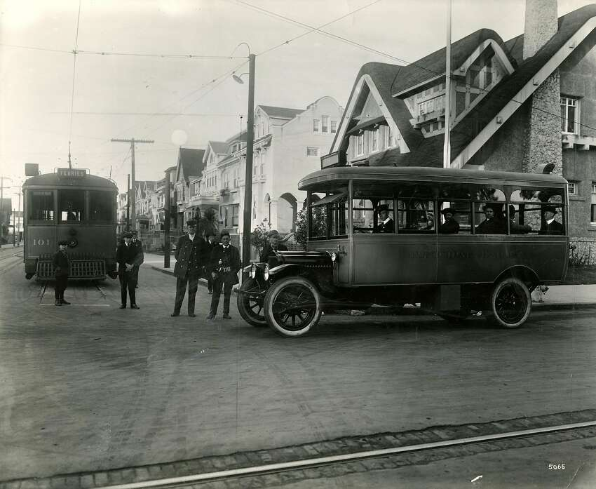 Gallery:Evolution of SF Muni buses over the decades 1910's : From the back of the photo - In 1918, the growing Muni introduced its first gasoline bus which crossed Golden Gate Park in San Francisco, shown at the intersection of 10th Avenue and Fulton Street. (Story ran in the Chronicle on October 8, 1962.)