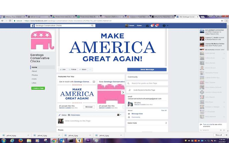 Screen grab of the Saratoga Conservative Chicks Facebook page.