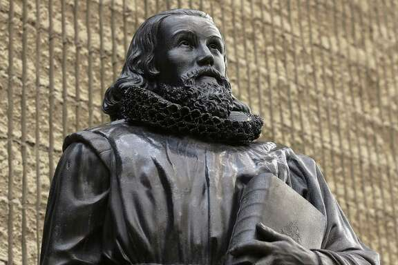 The Puritans provided one of the nation's first Exodus story, one replicated through the years by other newcomers and innovators. Puritan John Winthrop, by sculptor Richard Saltonstall Greenough, stands outside the First Church in Boston, in Boston's Back Bay neighborhood. He was one of the founders of the Massachusetts Bay Colony.