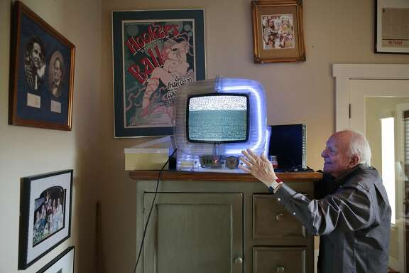Jerry Seltzer turns on his LOYS Modele Depose Vintage TV, a piece of art by Francois Kneider, in his office at his home in Sonoma, California, Friday, March 21, 2017. Mr. Seltzer ran the original Roller Derby which his father Leo Seltzer founded in 1935. Later, Jerry Seltzer co-founded BASS Tickets, a computerized ticketing service. He also co-founded the Sonoma Valley Film Festival, now know as Sonoma FilmFest. Ramin Rahimian/Special to The Chronicle