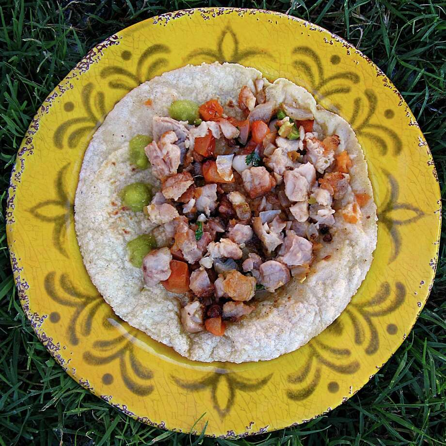 Taco of the Week: Mollejas (sweetbreads) taco on a handmade corn tortilla from Mittman Fine Foods. Photo: Mike Sutter /San Antonio Express-News