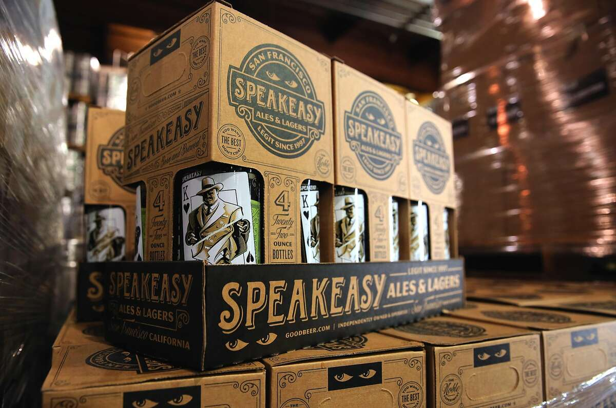 Boxes stacked high at the Speakeasy Ales & Lagers Brewery in San Francisco , Ca. as seen on Wed. March 22, 2017. The brewery announced it was closing two weeks ago, then started brewing again at full speed as it looks for a buyer.