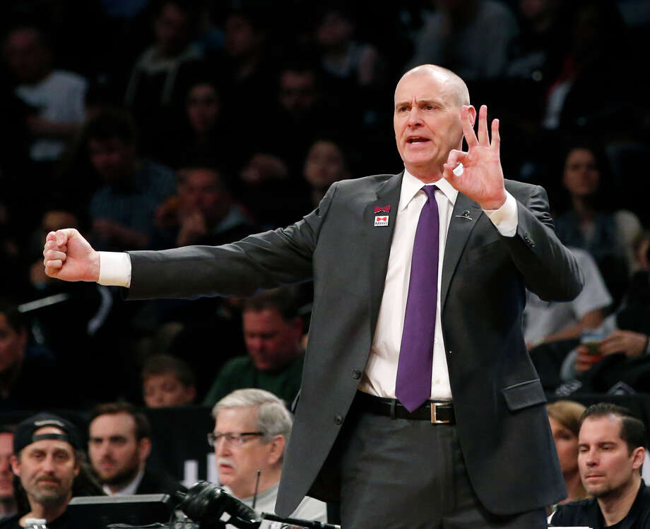 Dallas Mavericks head coach Rick Carlisle gestures in the first half of an NBA basketball game against the Brooklyn Nets, Sunday, March 19, 2017, in New York. (AP Photo/Kathy Willens) Photo: Kathy Willens, STF / Copyright 2017 The Associated Press. All rights reserved.
