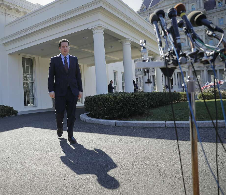 House Intelligence Committee Chairman Rep. Devin Nunes, R-Calif, walks out of the White House in Washington, Wednesday, March 22, 2017, to speak with reporters after a meeting with President Donald Trump. (AP Photo/Pablo Martinez Monsivais) Photo: Pablo Martinez Monsivais, Associated Press
