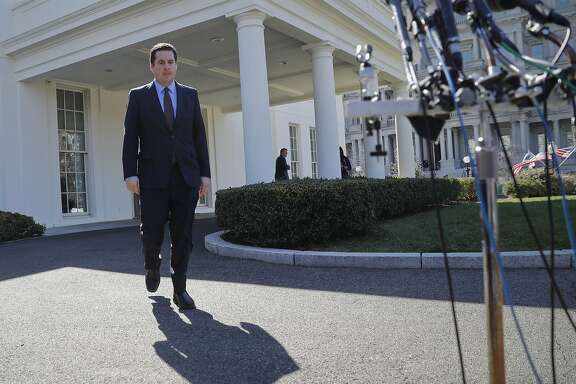 House Intelligence Committee Chairman Rep. Devin Nunes, R-Calif, walks out of the White House in Washington, Wednesday, March 22, 2017, to speak with reporters after a meeting with President Donald Trump. (AP Photo/Pablo Martinez Monsivais)