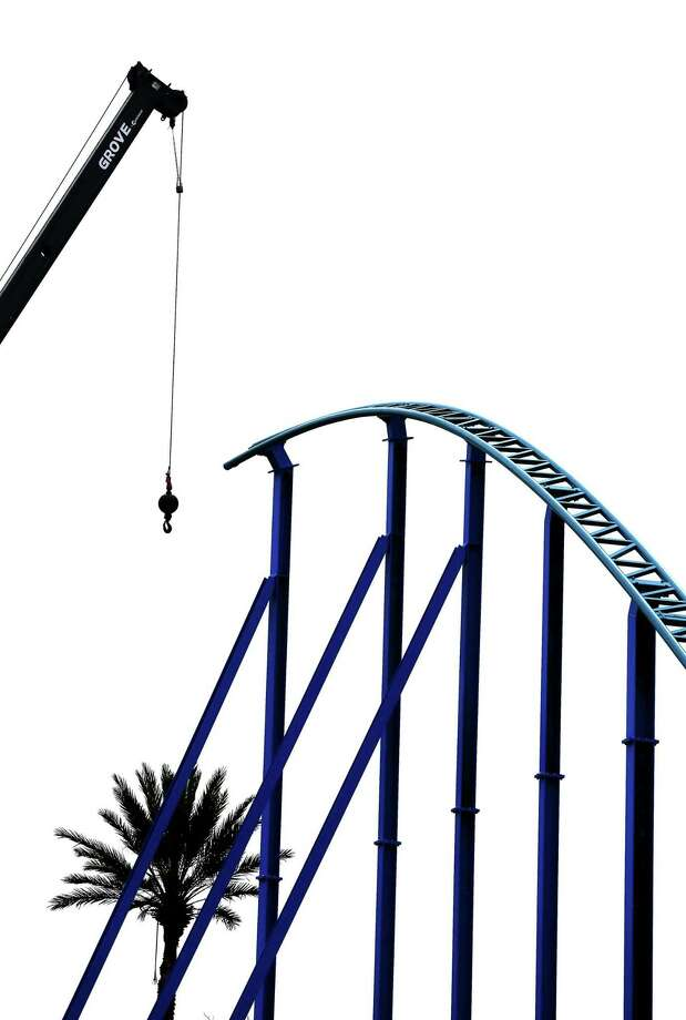 The highest point of SeaWorld's still-under-construction Wave Breaker roller coaster, which is intended to simulate marine mammal rescue missions, is seen Wednesday morning, March 22, 2017. The ride will be completed this summer but an opening date has not been announced yet. Photo: William Luther, Staff / San Antonio Express-News / © 2017 San Antonio Express-News