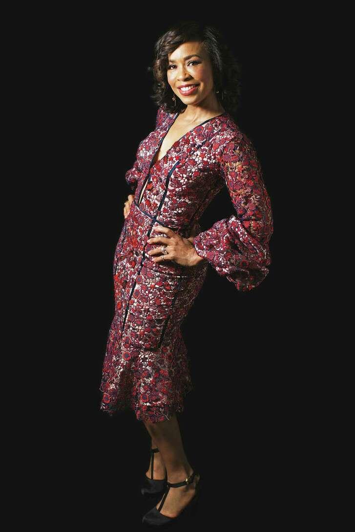 Gina Gaston wears Johanna Ortiz.
