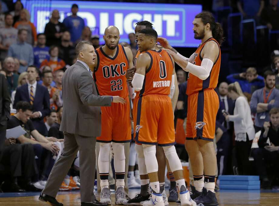 Oklahoma City ThunderRecord: 41-30Season series: Rockets lead, 2-1, with one game remaining in Houston.Sixth (seed) sense: The Thunder held a half-game lead on the seventh-place Grizzlies and have won two of three games against Memphis.The matchup: The Rockets have won eight of 11 meetings with the Thunder, including a five-game winning streak in Houston. In three games this season, however, they have outscored the Thunder by just three points.Advantage Rockets: James Harden has averaged more points against his former team in his career than against any opponent. The Rockets have had double-digit leads in all three meetings this season.Advantage Thunder: Russell Westbrook is averaging 35.3 points per game on 51.1 percent shooting against the Rockets this season. The Thunder is tied for second in the NBA in offensive rebounding percentage while the Rockets rank 20th in defensive rebounding percentage, 29th since the All-Star break. The Thunder allow the fourth-fewest 3s in the NBA. Photo: Alonzo Adams/Associated Press