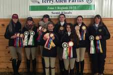 The Cavalier Farm High School IEA team was recently Champion at the IEA Zone 1 Region 10/11 Semi-Finals at Terry Allen Farm on March 4, 20176. The team and Individual riders will compete at Zone 1 Finals April 1-2 in Springfield, Mass. They are, from left to right, in front, Devon LeMoine and Madison Jennes, and in back, Alycia Petrauskas, Jordan Guilmart, Chelsea LeMoine, Annie Fouriner, Carolynn DeBellis and Cheryl LeMoine.