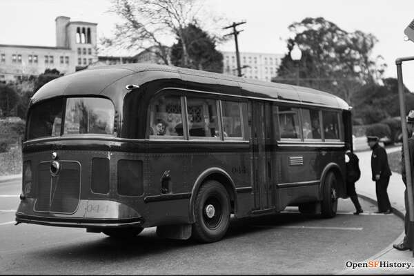 1930's: Muni bus in front of Forest Hill Station circa 1935. Laguna Honda in the background. Courtesy of  OpenSFHistory.org .