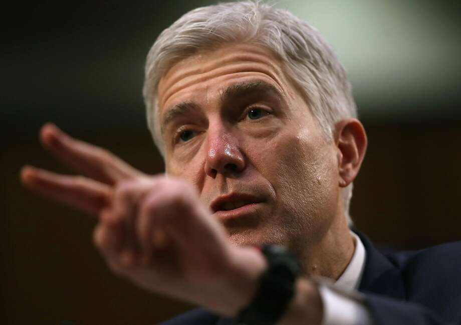 Judge Neil Gorsuch faced tough ques tions at his Supreme Court hearing. Photo: Justin Sullivan, Getty Images