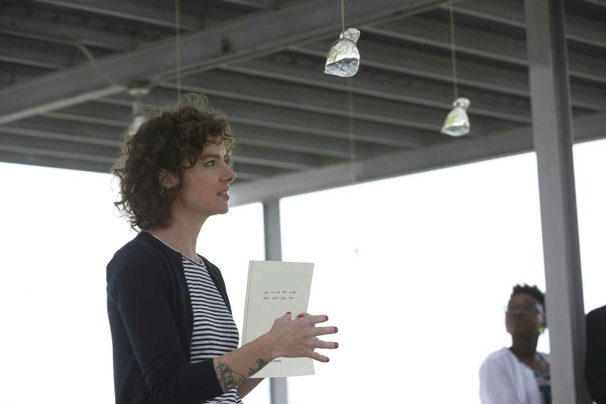 Kate Newby, of Auckland, New Zealand, talks about her installation during a walk through of Artpaces Spring 2017 International Artists-in-Residence Program.
