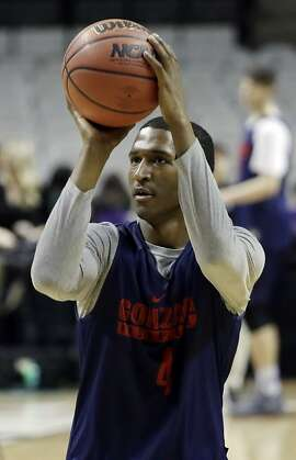 Gonzaga guard Jordan Mathews (4) shoots during practice Wednesday, March 22, 2017, in San Jose, Calif., in preparation for an NCAA Tournament college basketball regional semifinal game. Gonzaga plays West Virginia on Thursday. (AP Photo/Marcio Jose Sanchez)