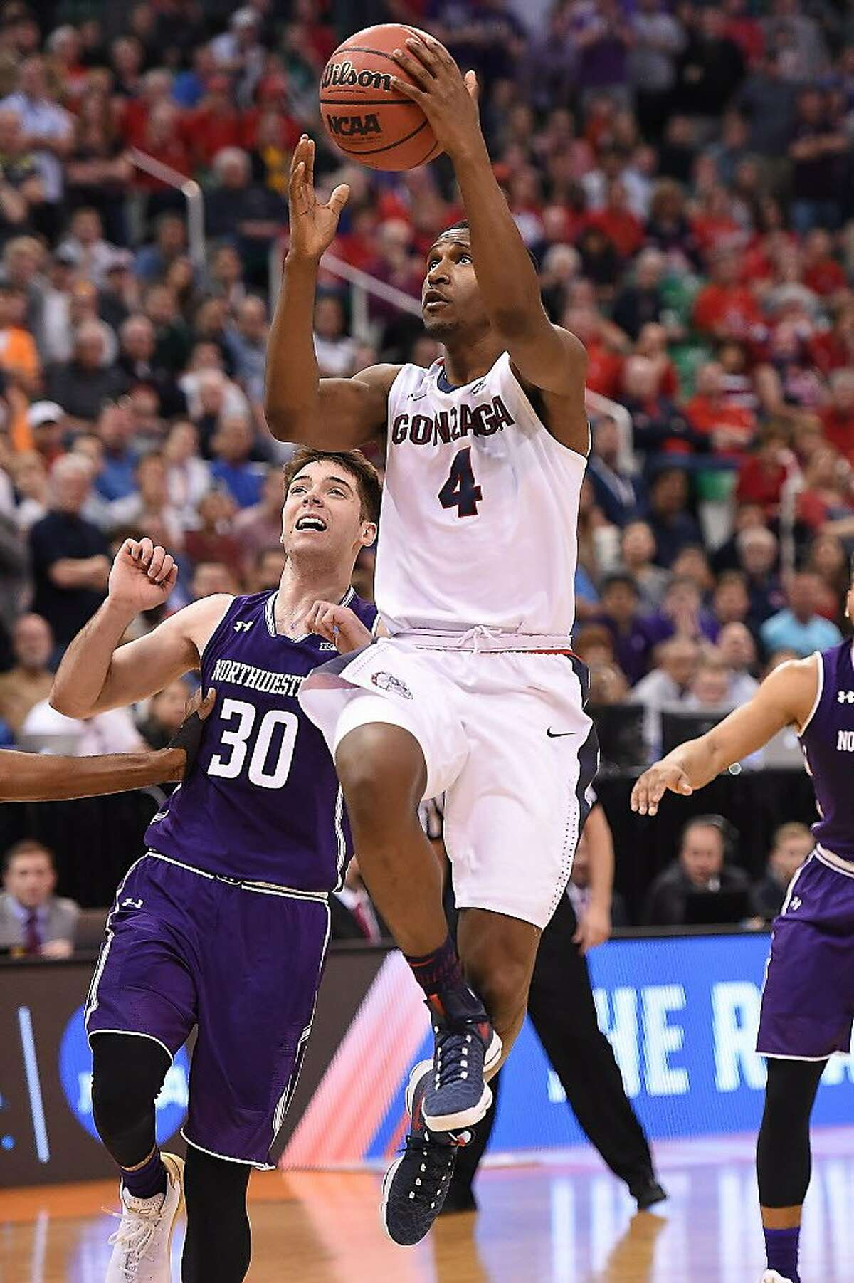 SALT LAKE CITY, UT - MARCH 18: Jordan Mathews #4 of the Gonzaga Bulldogs attempts a shot against the Northwestern Wildcats during the second round of the 2017 NCAA Men's Basketball Tournament at Vivint Smart Home Arena on March 18, 2017 in Salt Lake City, Utah. (Photo by Gene Sweeney Jr./Getty Images)