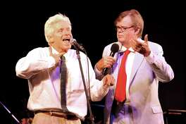 "Fred Newman creates sound effects as Garrison Keillor tells a story of marriage, during the live performance of ""A Prairie Home Companion,"" at Ives Concert Park, in Danbury, Wednesday, Aug. 18, 2010."