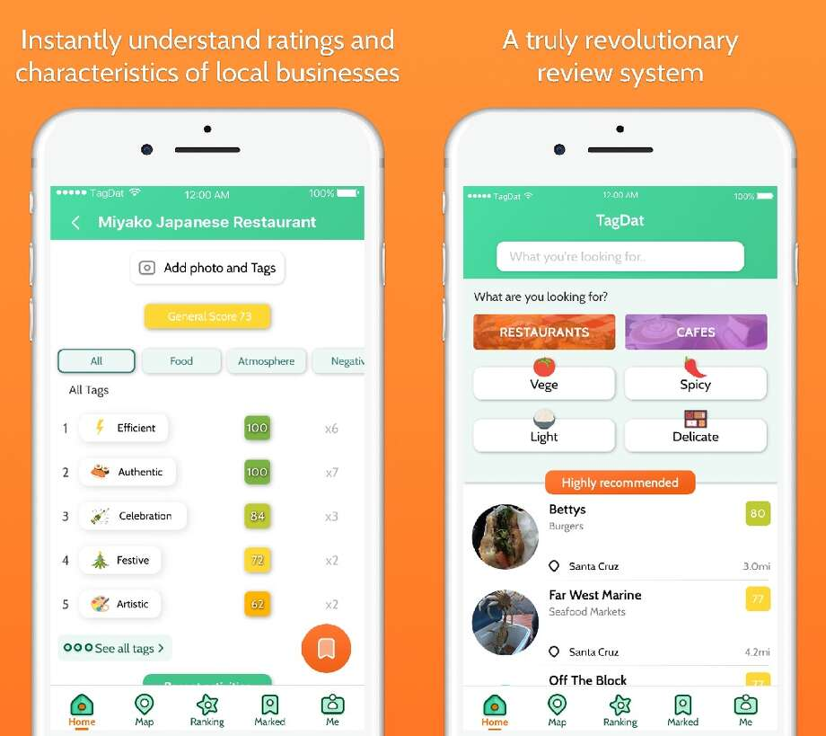 Screenshots of TagDat, a new restaurant-review app being developed by a team from Santa Cruz