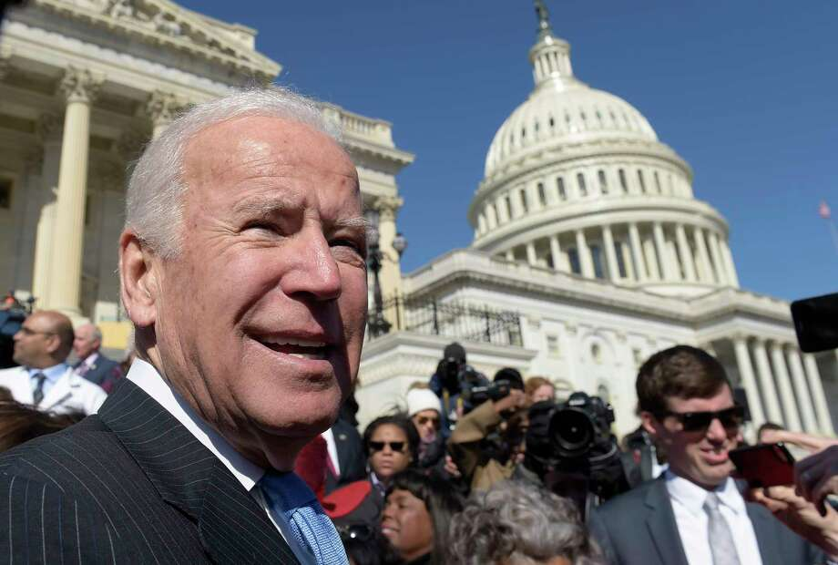 Former Vice President Joe Biden pauses as he greets the crowd on Capitol Hill in Washington, Wednesday, March 22, 2017, following an event marking seven years since former President Barack Obama signed the Affordable Care Act into law. (AP Photo/Susan Walsh) Photo: Susan Walsh, STF / Copyright 2017 The Associated Press. All rights reserved.