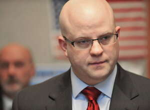 Rensselaer County District Attorney Joel Abelove listens to a question from a member of the media during a press conference on Monday, April 18, 2016, in Troy N.Y.  The press event was held by officials to talk about the police shooting that took place early Sunday morning.   (Paul Buckowski / Times Union)