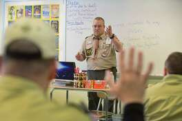 Norwalk resident and Cubmaster for Pack 97, Michael Szarpa, gives a lecture to other Cubmasters and Assistant Cubmasters on outdoor activities, Out and About, as more than 250 Cub Scout, Venturing and Boy Scout leaders from Fairfield County and New Haven County gather Saturday, March 18, 2017, at Roger Ludlowe Middle School in Fairfield to hone their outdoor and leadership skills at the Connecticut Yankee Councils 2017 University of Scouting in Fairfield, Conn.