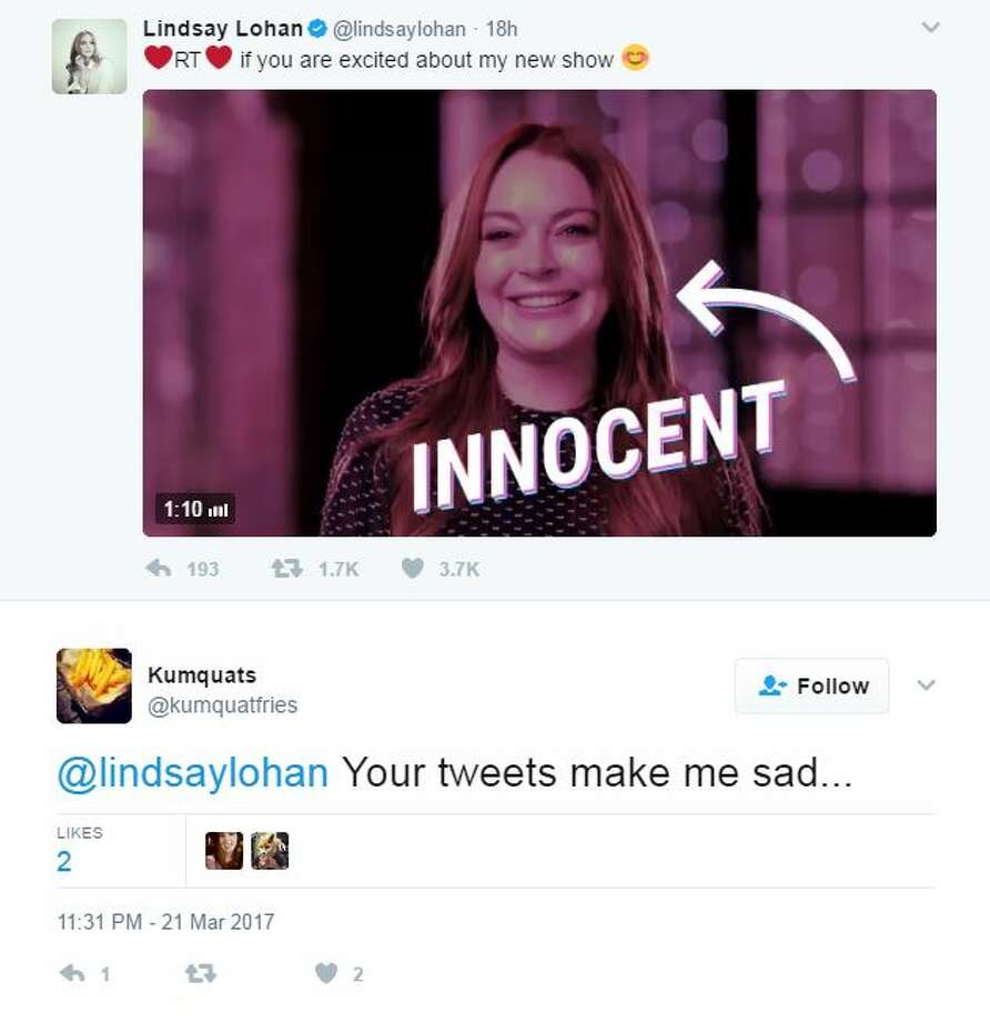 Lindsay Lohan got roasted on twitter after sharing a tweet about her new show. Photo: Twitter Screen Shots