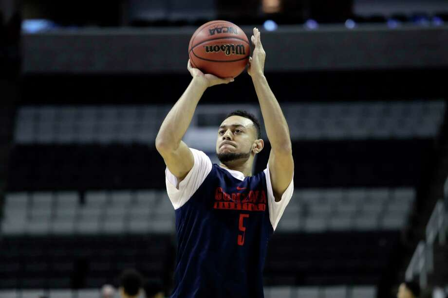 Gonzaga guard Nigel Williams-Goss shoots during practice Wednesday, March 22, 2017, in San Jose, Calif., in preparation for an NCAA Tournament college basketball regional semifinal game. Gonzaga plays West Virginia on Thursday. (AP Photo/Marcio Jose Sanchez) Photo: Marcio Jose Sanchez, STF / Copyright 2017 The Associated Press. All rights reserved.