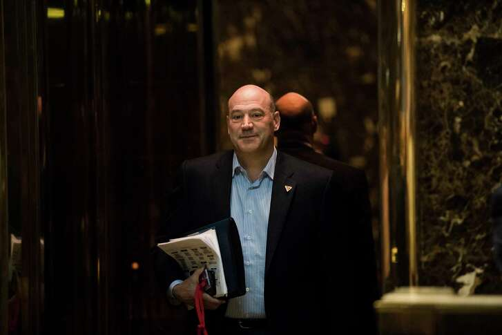 FILE -- Gary Cohn, then the president of Goldman Sachs, in the Trump Tower lobby on Fifth Avenue in New York, Jan. 2, 2017. Government ethics officials have mandated that Cohn, a White House economic adviser, to sell a significant position in the world's largest bank, the Industrial and Commercial Bank of China. (Hilary Swift/The New York Times)