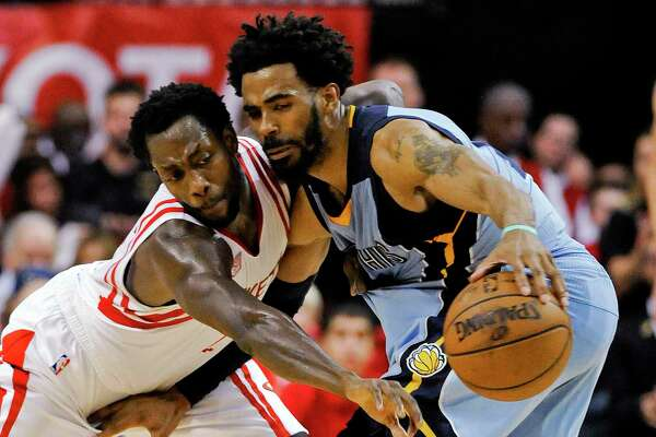 Guard Mike Conley, right, and the Grizzlies have split the season series against Pat Beverley and the Rockets, but Memphis has lost the past two convincingly.