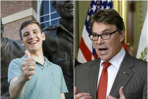 Left: Texas A&M's newly elected student body president Bobby Brooks, a  junior from Belton, Texas, poses for a portrait in front of the War Hymn  Monument on Monday, March 20, 2017, in College Station.   Right: Rick Perry speaks after being sworn in as secretary of energy earlier this month.